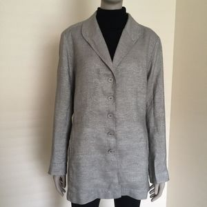 Eileen Fisher silver metallic linen long blazer